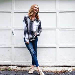 Madewell Striped Button Collar Tunic Shirt Top